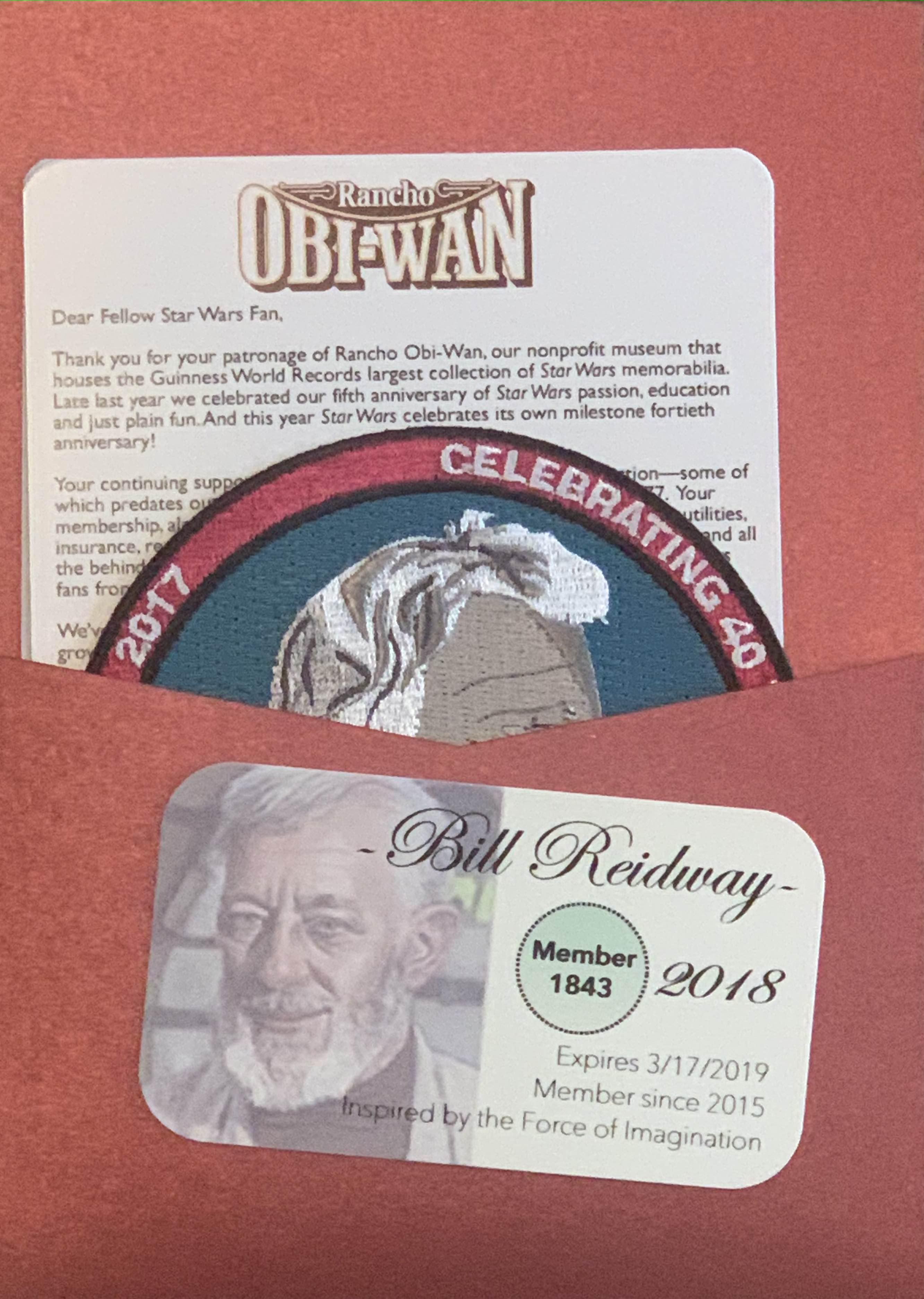 Rancho Obi-Wan Membership Package 2018
