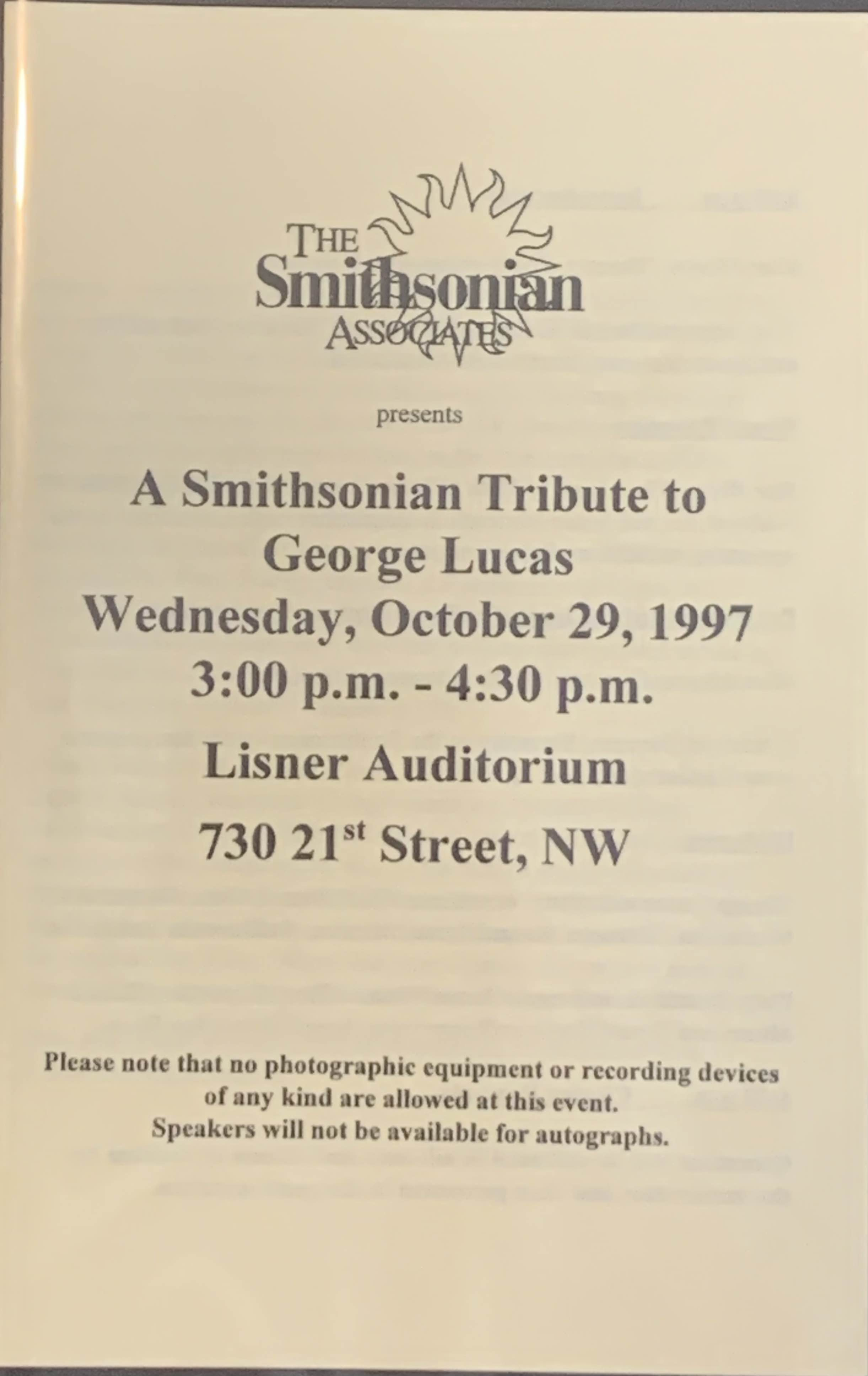 A Smithsonian Tribute to George Lucas October 29, 1997