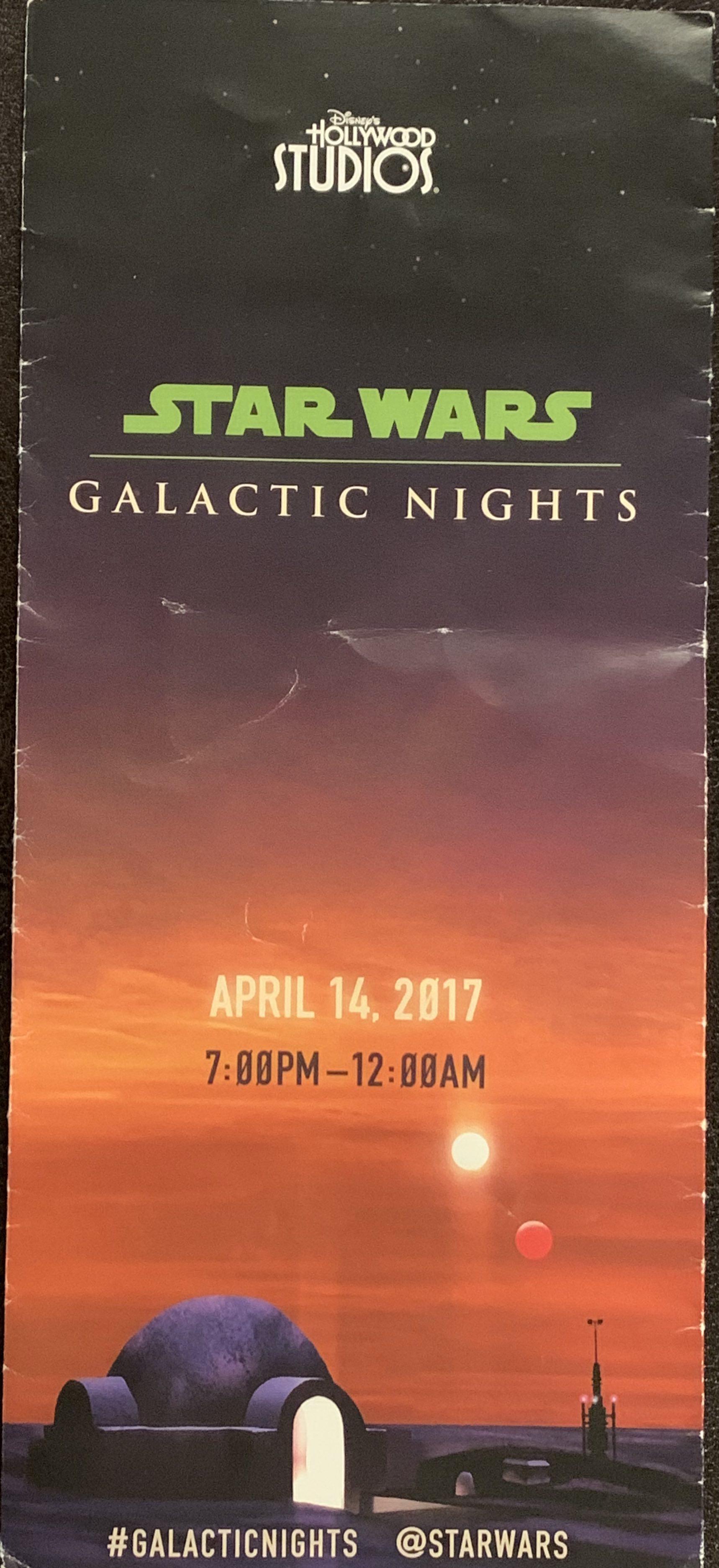 Star Wars Galactic Nights Orlando 2017 Program Guide