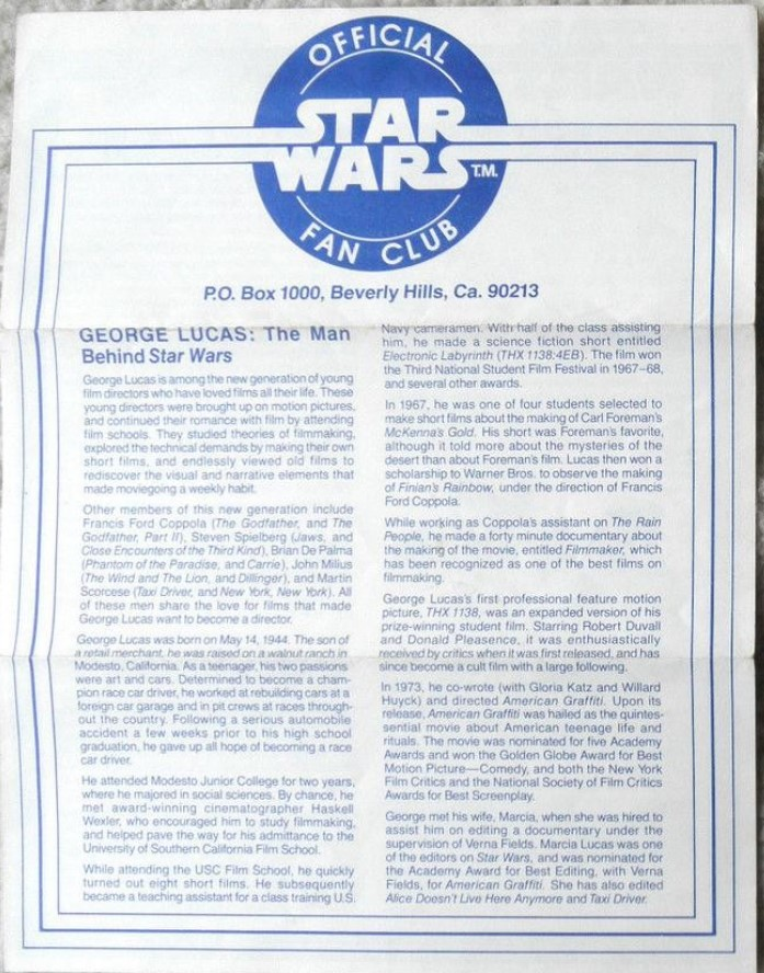 Star Wars Official Fan Club Newsletter 1