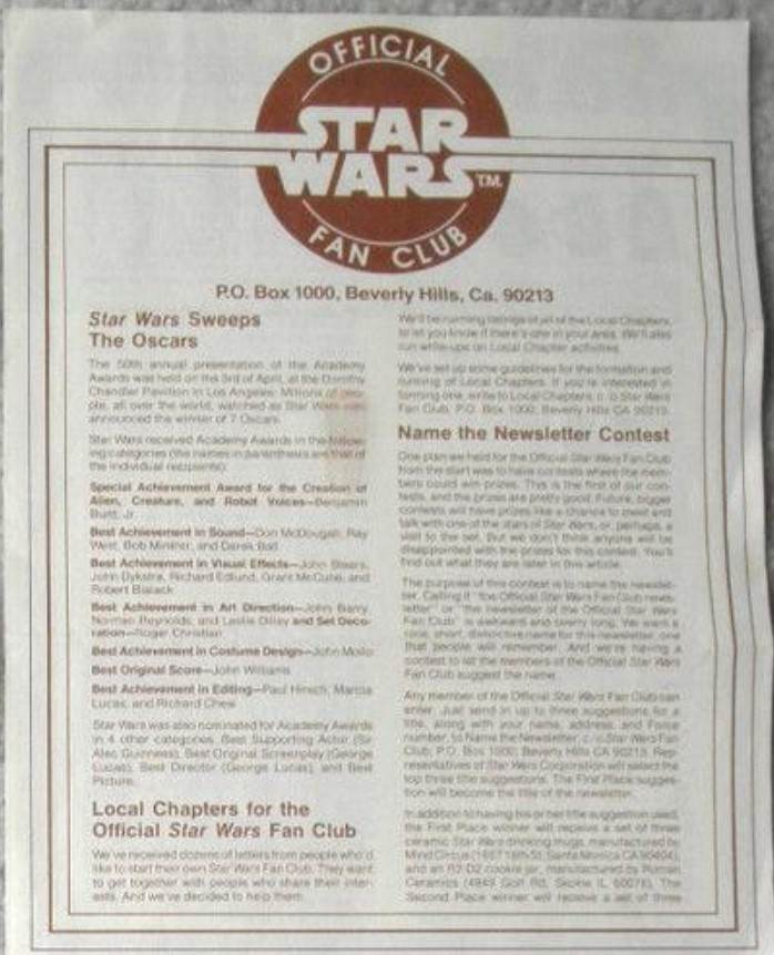 Star Wars Official Fan Club Newsletter 2