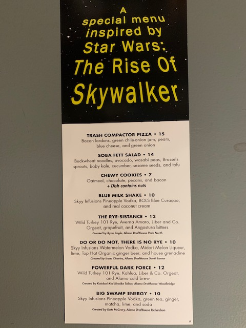 Star Wars The Rise of Skywalker Alamo Drafthouse Drink Menu